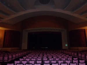 The theatre in the old casino in Petropolis, Brazil.  Check out the cool orb on the right hand side of the stage!