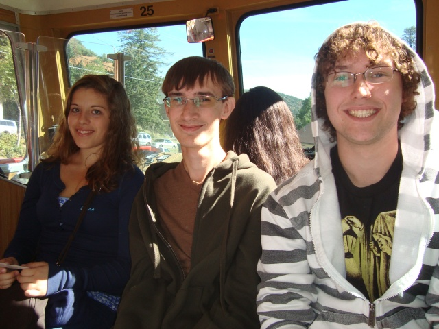 Riding the cog railway up to the top of Pike's Peak!  Geoffry and Nathan and Muriel, our exchange student from Dusseldorf, Germany!