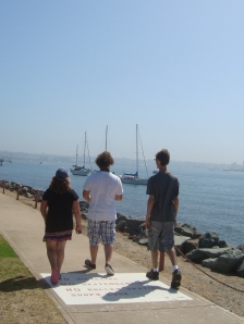 "Enjoying a walk with the kids during the ""bonus"" day of our California vacation"