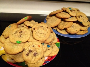 Chocolate Chip/M&M Cookies I took along to share at our family reunion!