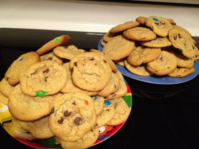 Transformed from Cookie Dough into Yummy Chocolate Chip/M & M cookies!!