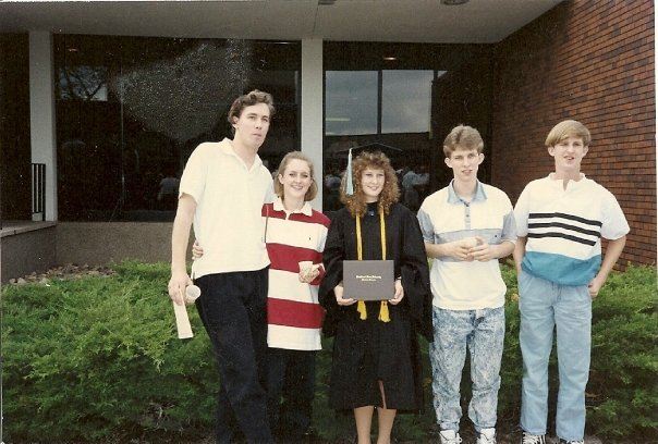 May, 1990 - My college graduation with my sister, two brothers and brother-in-law (WOW.....we sure were young way back then!! ;) )