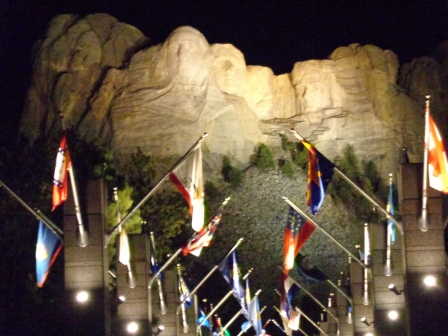 Mt. Rushmore lit up