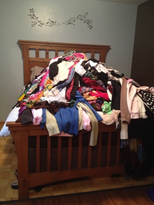 My MASSIVE mountain of clothes!
