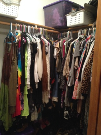 My closet filled with items of clothing that bring me joy! :)